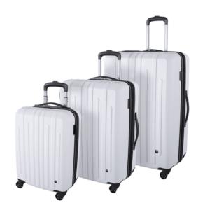 סט 3 מזוודות לבנות קשיחות