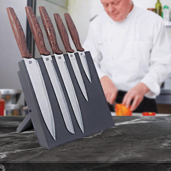 סט סכיני שף איכותיים במעמד מגנטי