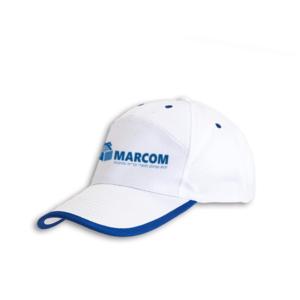 כובע מצחיה לבן עם פס כחול