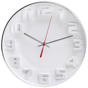 שעון קיר לבן עם ספרות בולטות