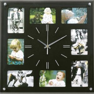 שעון קיר עם תמונות בצבע שחור