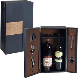 מארז עץ לשני בקבוקי יין מתנה לעובדים