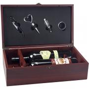 מארז עץ לשני בקבוקי יין עם 4 אביזרים ליין