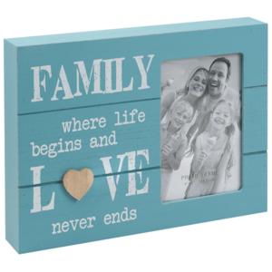 מסגרת תיבה מעץ תכלת כיתוב FAMILY לבן מעולה למתנות עובדים