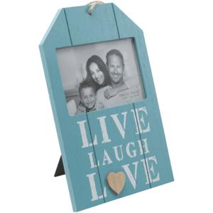 מסגרת תמונה לתלייה מעץ בצבע תכלת עם כיתוב LIVE לבן, מתנה לעובד