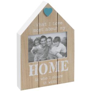 מסגרת תמונה מעץ בצבע טבעי בצורת בית עם כיתוב HOME לבן, מתנה לעובדים