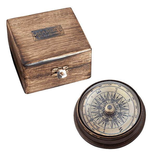 מצפן בועה על בסיס נחושת בקופסת עץ