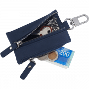נרתיק דמוי עור לצרור מפתחות וכסף קטן.