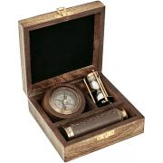 סט כולל מצפן שעון חול וטלסקופ
