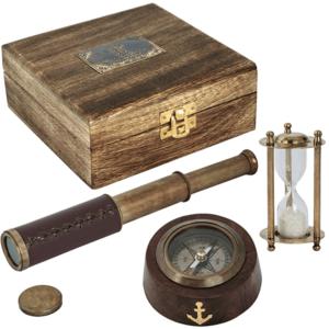 סט כולל מצפן שעון חול וטלסקופ לשולחן המנהל
