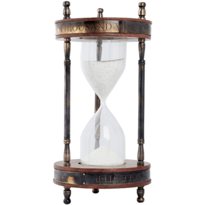 שעון חול זכוכית עץ ונחושת לשולחן המנהל
