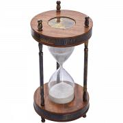 שעון חול זכוכית עץ ונחושת