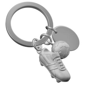מחזיק מפתחות כדורגל כסוף