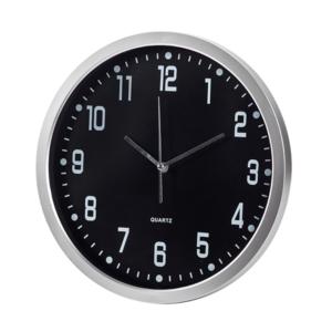 שעון קיר עגול ממותג שחור