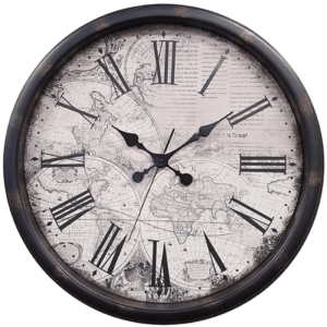 שעון קיר בעיצוב מפה וינטג