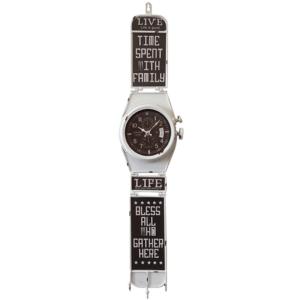 שעון קיר דמוי שעון יד לבן ענק