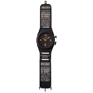 שעון קיר דמוי שעון יד שחור ענק