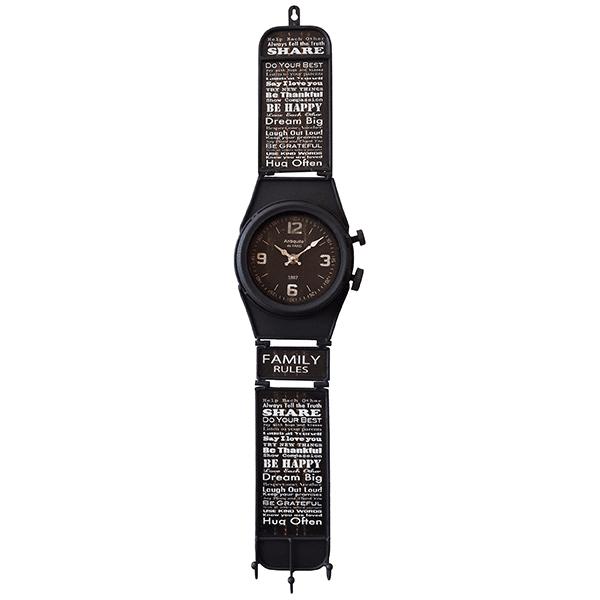 שעון קיר דמוי שעון יד שחור