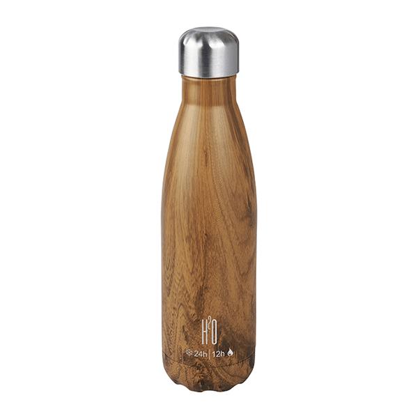 בקבוק נירוסטה דמוי עץ