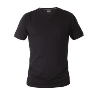חולצת טריקו עם צווארון V שחור