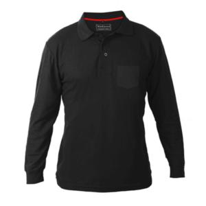 חולצת פולו ארוכה עם כיס שחור