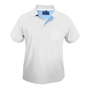 חולצת פולו קצרה עם כיס לבן