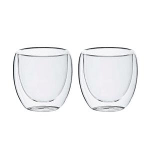 זוג כוסות זכוכית דופן כפולה מתנה