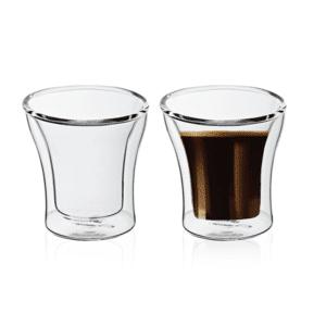 זוג כוסות קפה זכוכית דופן כפולה מתנה