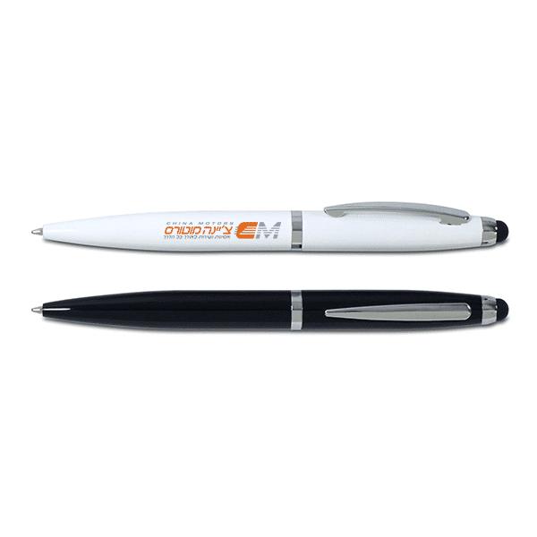 עט מתכת ממותגת פתיחה בסיבוב