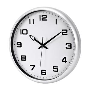 שעון קיר גדול למשרד כסוף
