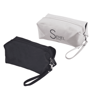 תיק איפור רחצה ממותג למתנה שחור ולבן