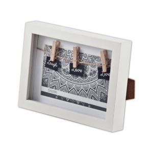 מסגרת תמונה עם אטבים צבע לבן