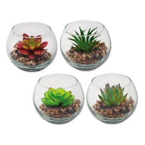 צמח מלאכותי בכלי זכוכית למתנה