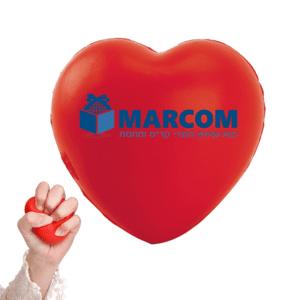 אליה כדור גומי לחיץ בצורת לב. מתנה ממותגת ללקוחות